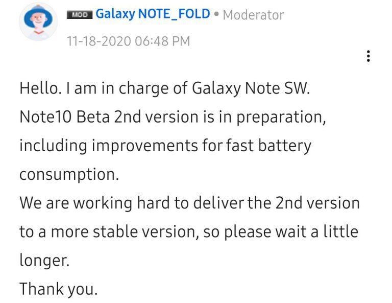 Mensaje Galaxy S10 Galaxy Note 10 One UI 3.0