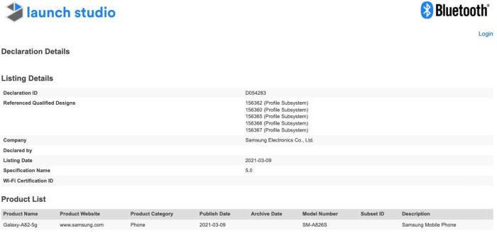 Galaxy A82 5G - Certificación SIG